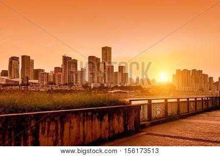 Chongqing China downtown city skyline over the Yangtze River.
