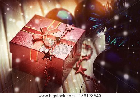 Photography of a christmas balls, bijouterie and gift box