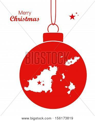 Merry Christmas Map Guernsey illustration high res