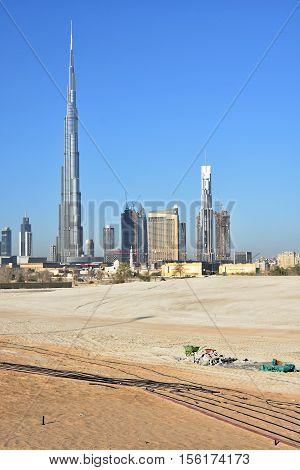 Dubai skyline at night from Business Bay Al Khail road,Dubai,  United Arab Emirates