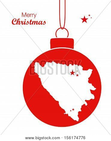 Merry Christmas Map Bosnia-Hercegovina illustration high res
