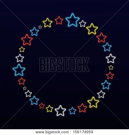 Shiny Colorful Neon Stars Circle Background
