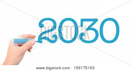 The year of 2030written with a marker