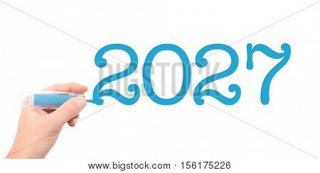 The year of 2027written with a marker