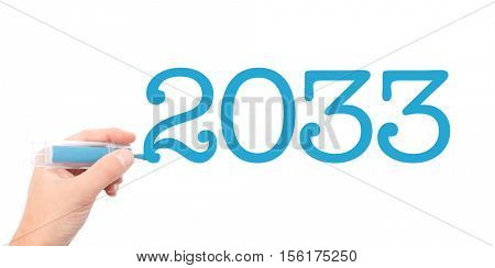 The year of 2033written with a marker