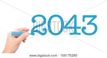 The year of 2043written with a marker