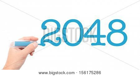 The year of 2048written with a marker