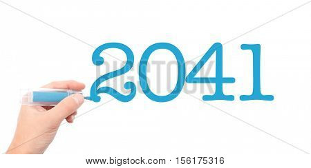 The year of 2041written with a marker