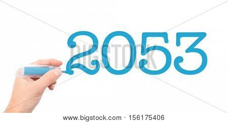 The year of 2053written with a marker