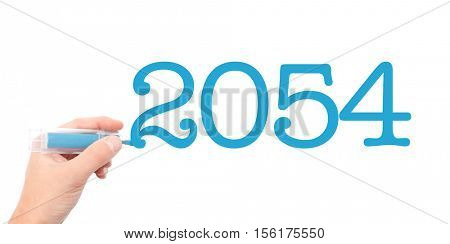 The year of 2054written with a marker