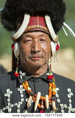 KOHIMA, NAGALAND/INDIA - DECEMBER 5, 2013: Tribes of Nagaland at the annual Hornbill festival. The Hornbill is also known as the Festival of Festivals'.