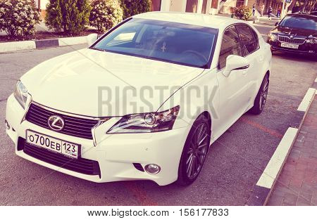 SOCHI, RUSSIA - APRIL 29, 2016: Lexus IS 250 parked on the streets of Sochi. Lexusi is among the best-selling luxury japanese automobiles in the world.