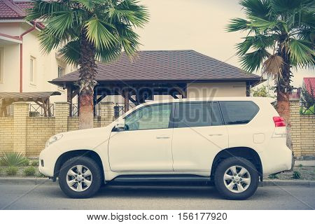 Sochi, Russia - October 11, 2016: Toyota Land Cruiser parked on the street of Sochi City.