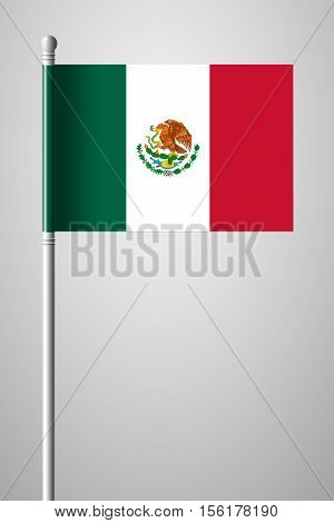 Flag Of Mexico. National Flag On Flagpole