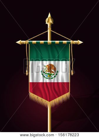 Flag Of Mexico. Festive Banner Vertical Flag With Flagpole