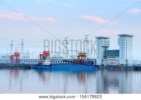 The famous Gezhouba large water conservancy in China's Yangtze River.