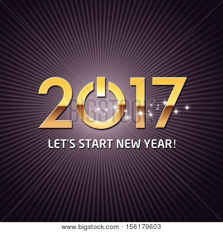 New year 2017 starting with a power button on a shiny black background