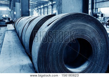 Galvanized steel production plant in the steel plate.