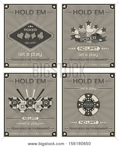 Set of poker posters for tournaments or promotion in retro style. Editable vector design.