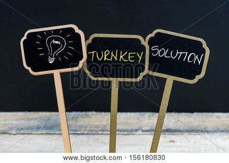 Concept Message Turnkey Solution And Light Bulb As Symbol For Idea