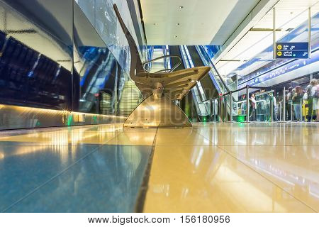 DUBAI UAE - NOVEMBER 9 2016: Interior of metro station in Dubai. Metro as world's longest fully automated metro network (75 km). Modern interior metro in Dubai.