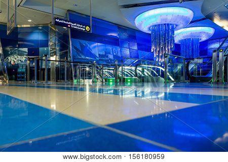 DUBAI UAE - NOVEMBER 9 2016: Interior of metro station in Dubai. Metro as world's longest fully automated metro network (75 km). Modern interior metro in Dubai.