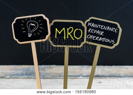 Concept Message Mro As Maintenance Repair Operations And Light Bulb As Symbol For Idea
