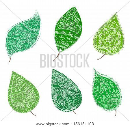 Vector set of isolated abstract green leafs with henna patterns. Stock design on white background.