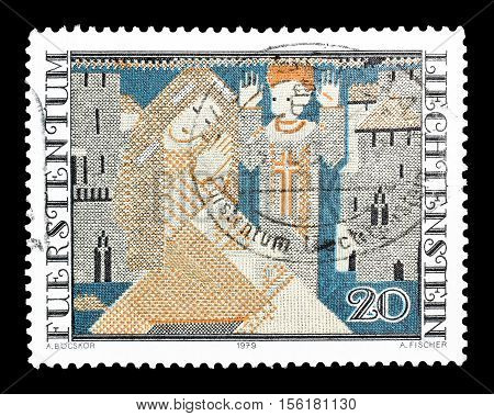 LIECHTENSTEIN - CIRCA 1979 : Cancelled postage stamp printed by Liechtenstein, that shows Tapestry.