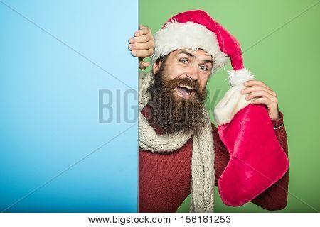 Christmas Man With Decorative Stocking
