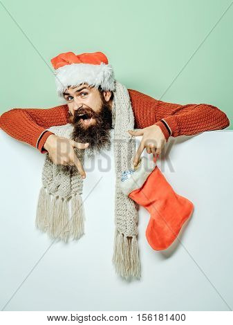 Christmas Man With Decorative Stocking