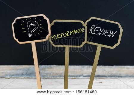 Concept Message Performance Review And Light Bulb As Symbol For Idea