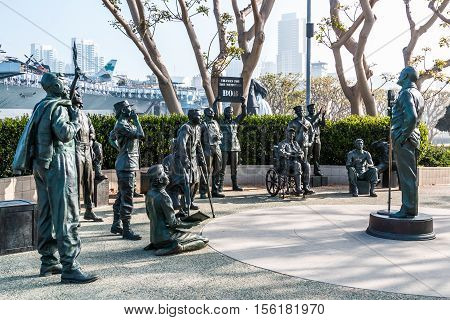 SAN DIEGO, CALIFORNIA - FEBRUARY 29, 2016: Military personnel in artwork by artists Eugene Daub and Steven Whyte, entitled