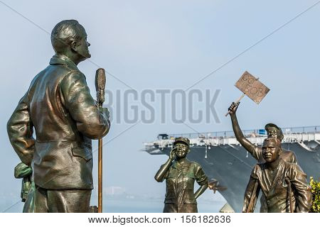 SAN DIEGO, CALIFORNIA - FEBRUARY 29, 2016: Statues of US military personnel and Bob Hope in artwork entitled,