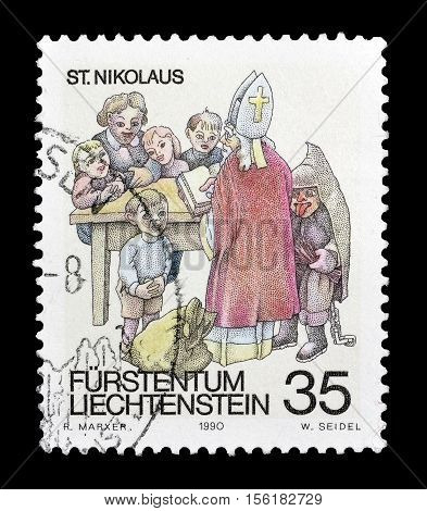 LIECHTENSTEIN - CIRCA 1990 : Cancelled postage stamp printed by Liechtenstein, that shows Saint Nikolaus.