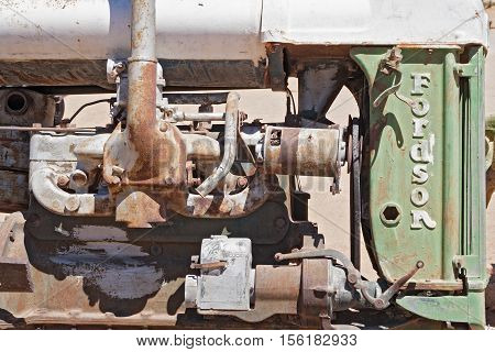 SOLITAIRE, NAMIBIA-NOVEMBER 26, 2015: Old engine block of a Fordson Tractor