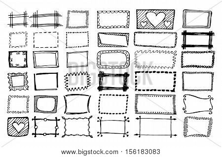Hand drawn rectangle frames set. Cartoon square borders. Pencil effect shapes isolated.