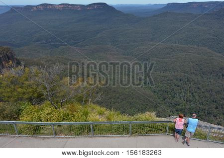 Aerial View Of Echo Point Three Sisters Lookout In Katoomba At The Blue Mountains Australia