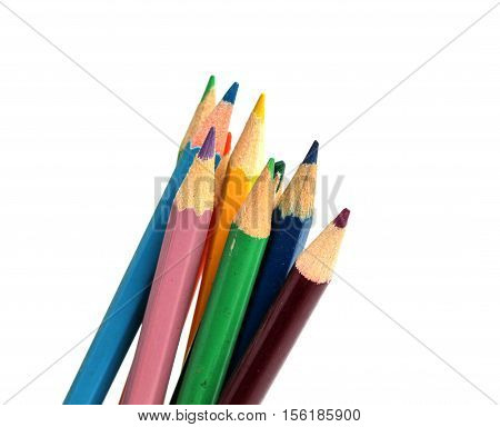 picture of a Close up macro shot of color pencil pile pencil nibs
