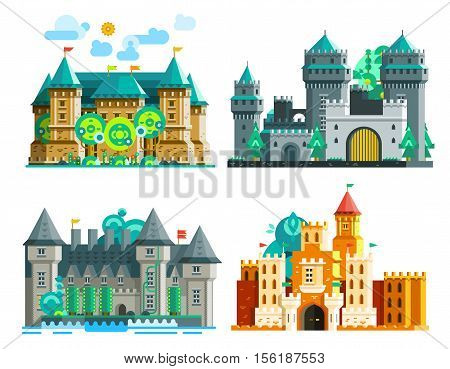 Colorful castles set of medieval era with towers and domes in flat style isolated vector illustration