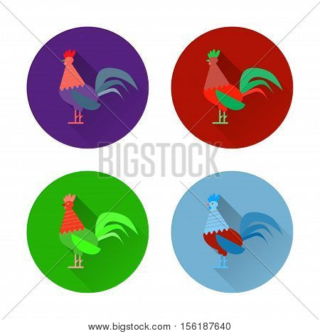 Set of colorful rooster and cock icons. Flat design style vector illustrations of symbol 2017 chineese new year