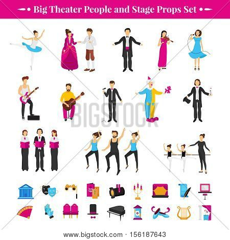 Stage props set with actors dancers and musicians flat isolated vector illustration