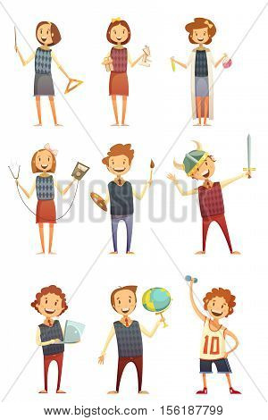 Kids education retro cartoon set of children holding globe books brush paints and busying in theatrical performance and physical training isolated vector illustration