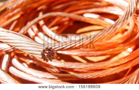 The cleared copper electric power cable Industrial Power Plant.