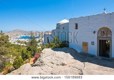Patmos, Greece - May 16, 2010: The Monastry and Cave of the Apocalypsis