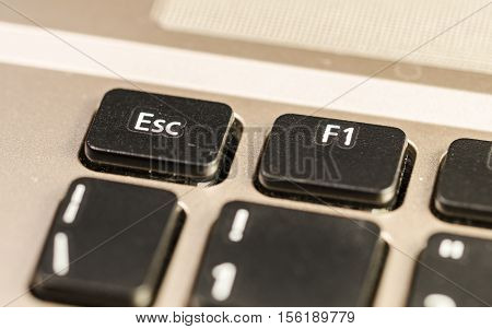 close up of a personal computer keyboard with esc command