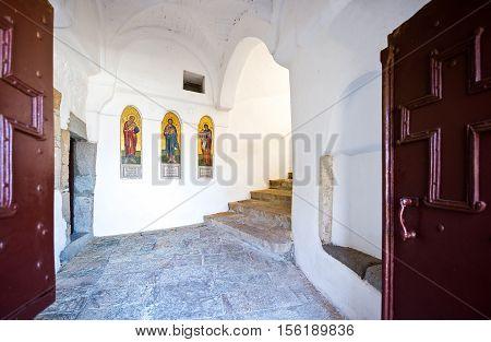 Patmos, Greece - May 16, 2010: The entrance of the Agios Joannis Theologos Monastry