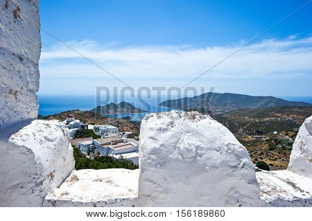 Greece Dodecanese, Patmos, panoramic view from the Agios Joannis Theologos Monastry