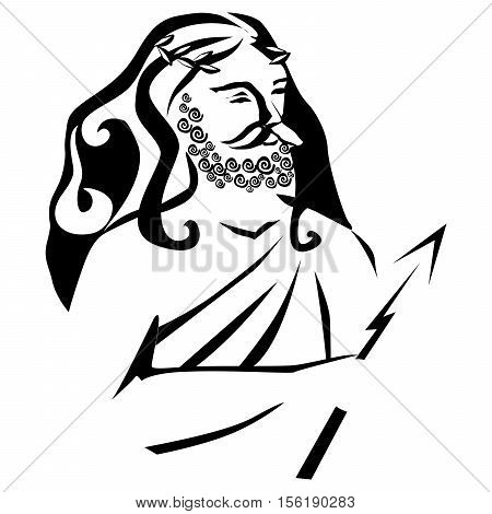 Zeus. Vector silhouette on a white background