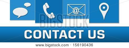 Contact us text alphabets written over green blue background.